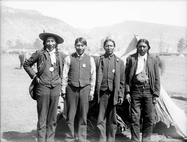 Four Indian Police.Ute men identified as [l to r]: Dick Charley, Rob ...